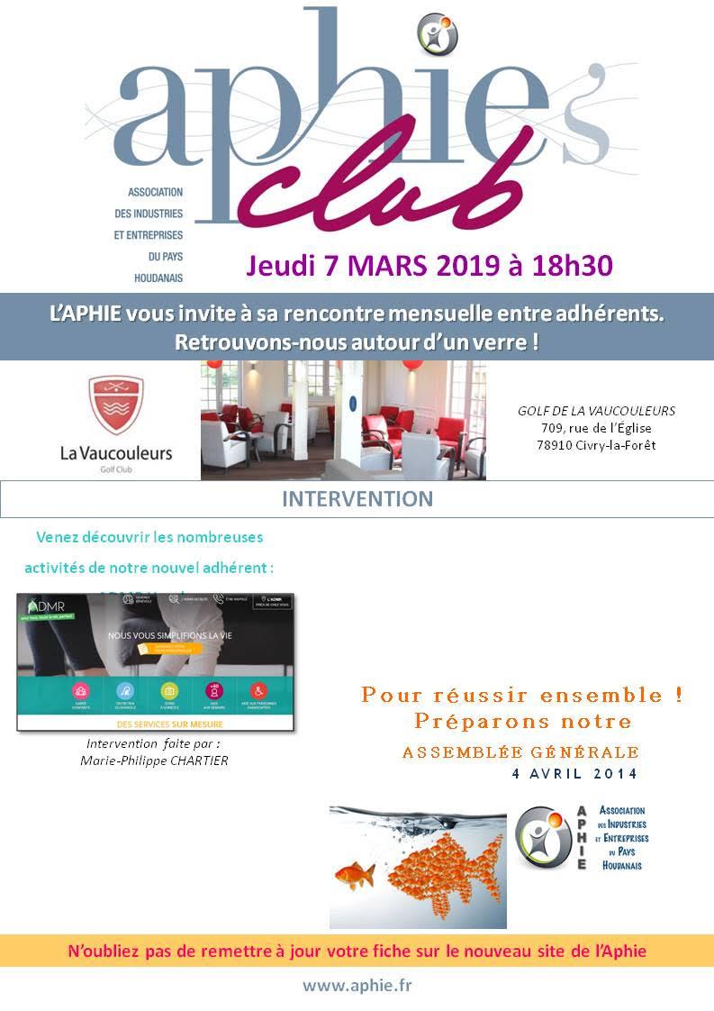 Jeudi 7 mars 2019 : Aphie's Club