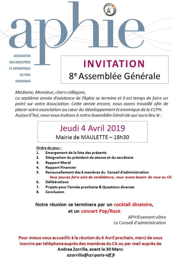 Jeudi 4 avril 2019 : Assemblée Générale