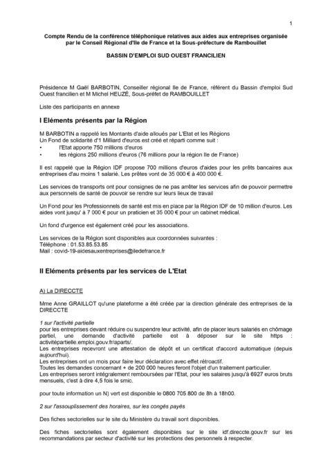 [COVID-19] Aides aux entreprises – Bassin d'Emploi Sud-Ouest Francilien