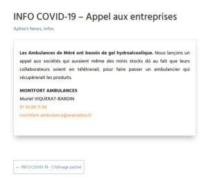 INFO COVID-19 – Appel aux entreprises