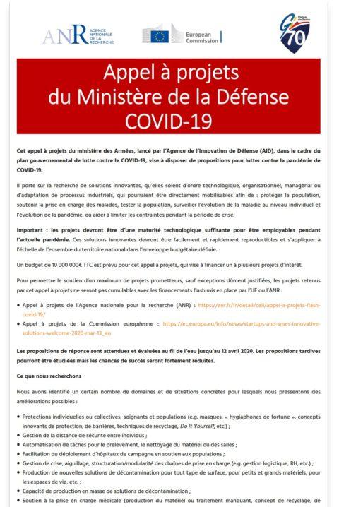 [COVID-19] Appel à projets du Ministère de la Défense