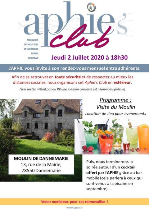 Jeudi 2 juillet 2020 : Aphie's Club au Moulin de Dannemarie