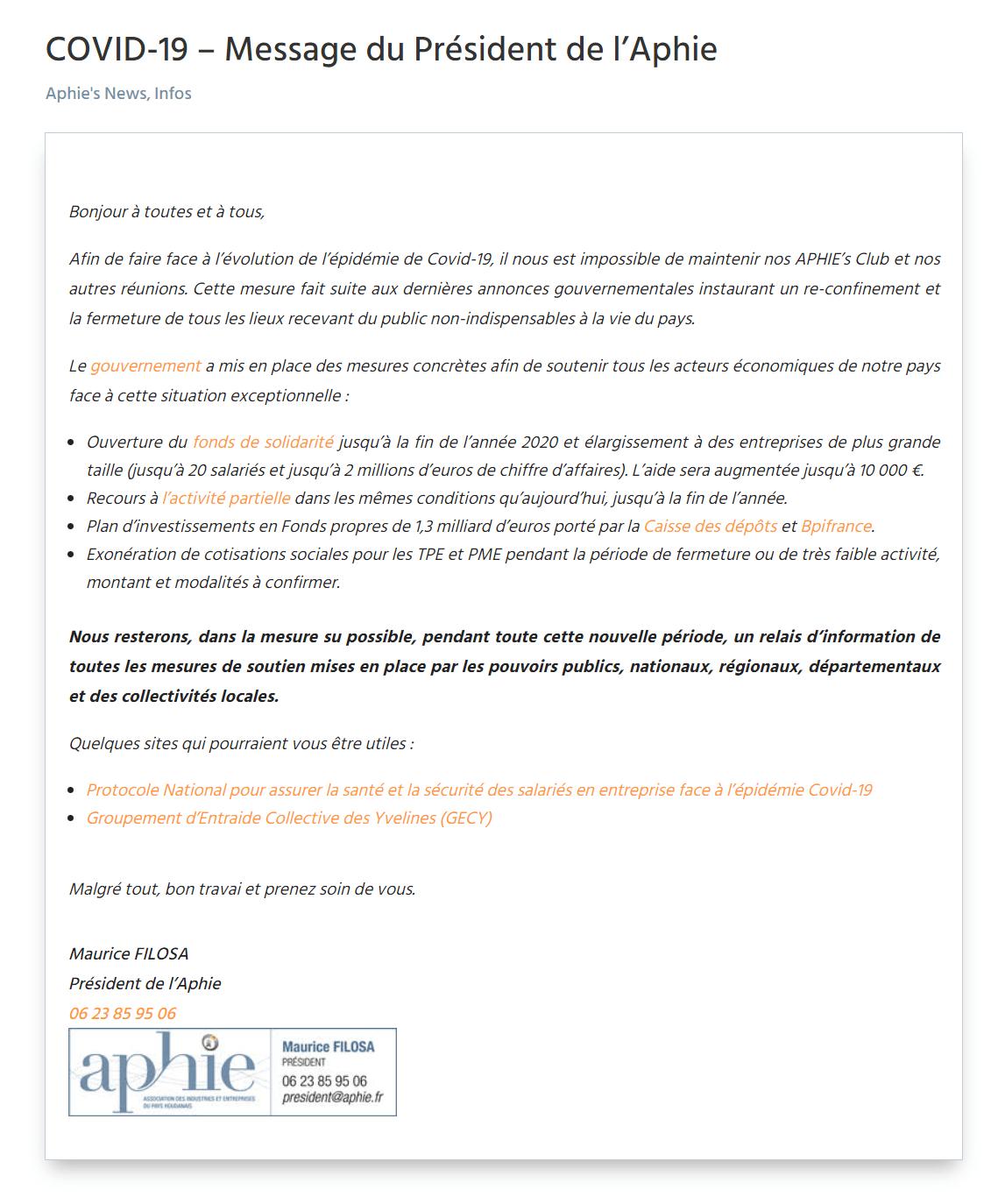 COVID-19 – Message du Président de l'Aphie
