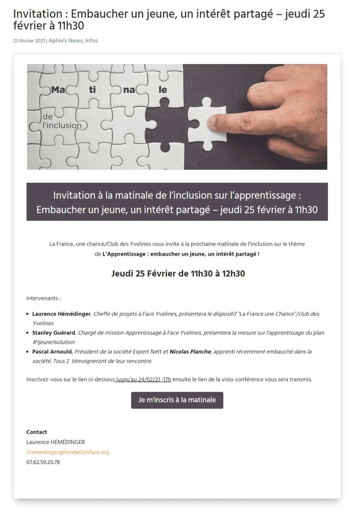 Invitation : Embaucher un jeune, un intérêt partagé – jeudi 25 février 2021 à 11h30