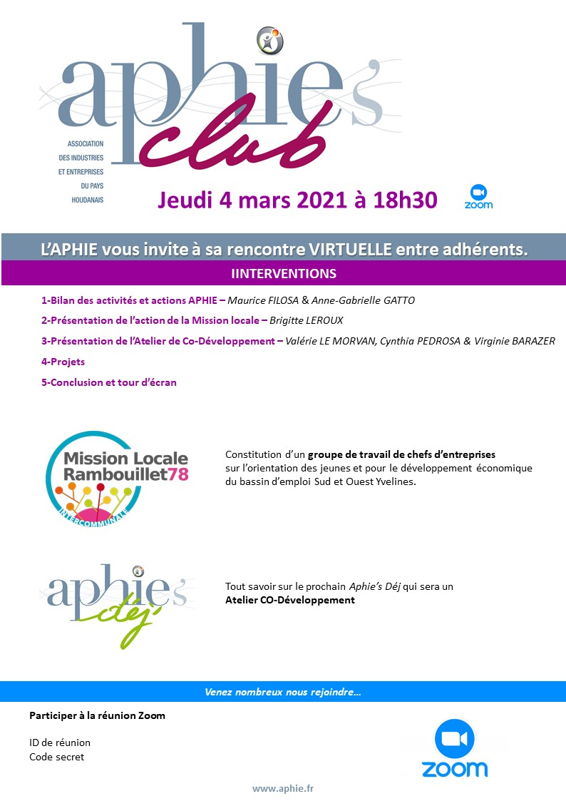 Jeudi 4 mars : Aphie's Club Visio