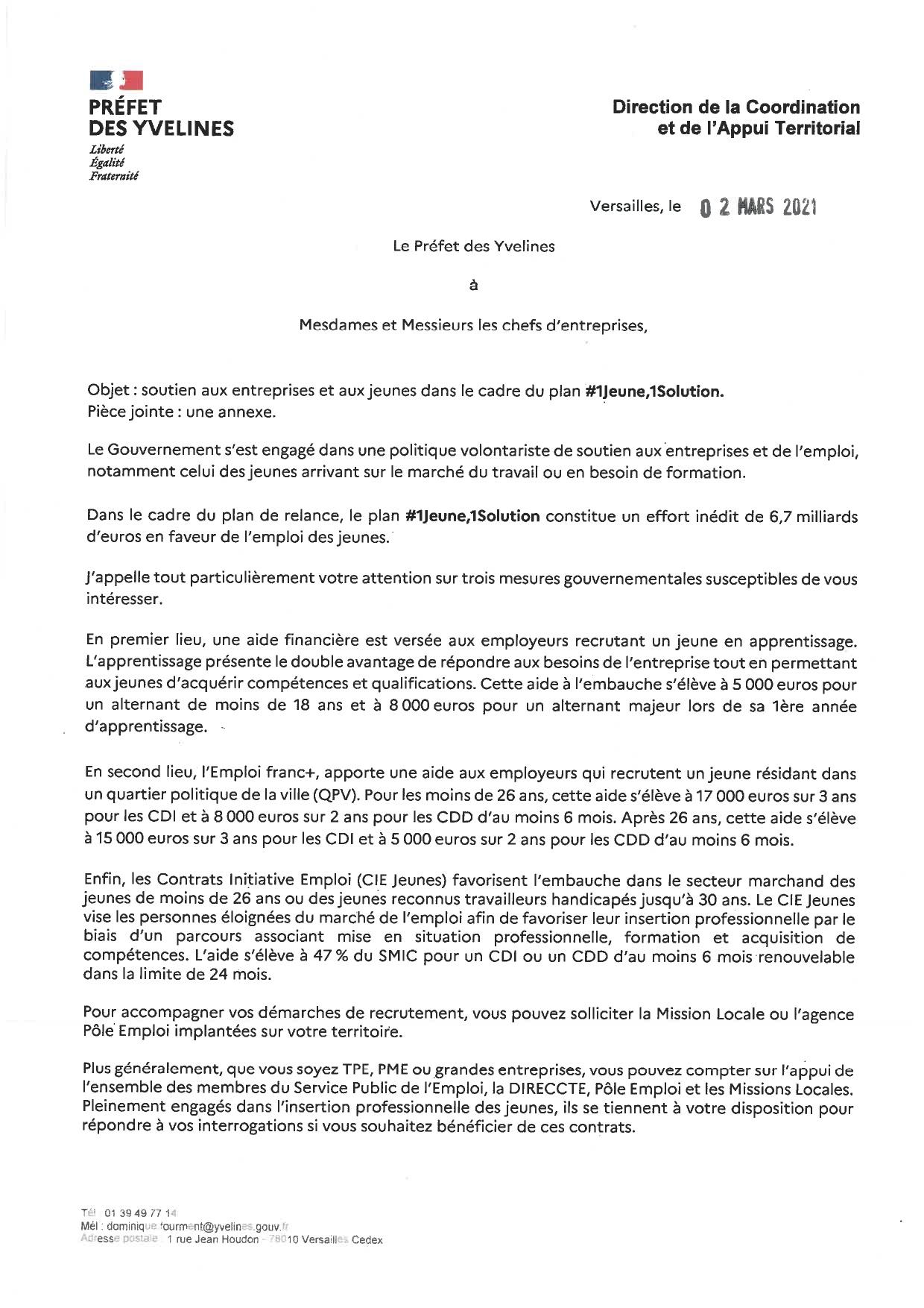 Courrier de M le Préfet des Yvelines aux entreprises #1jeune, 1 solution.
