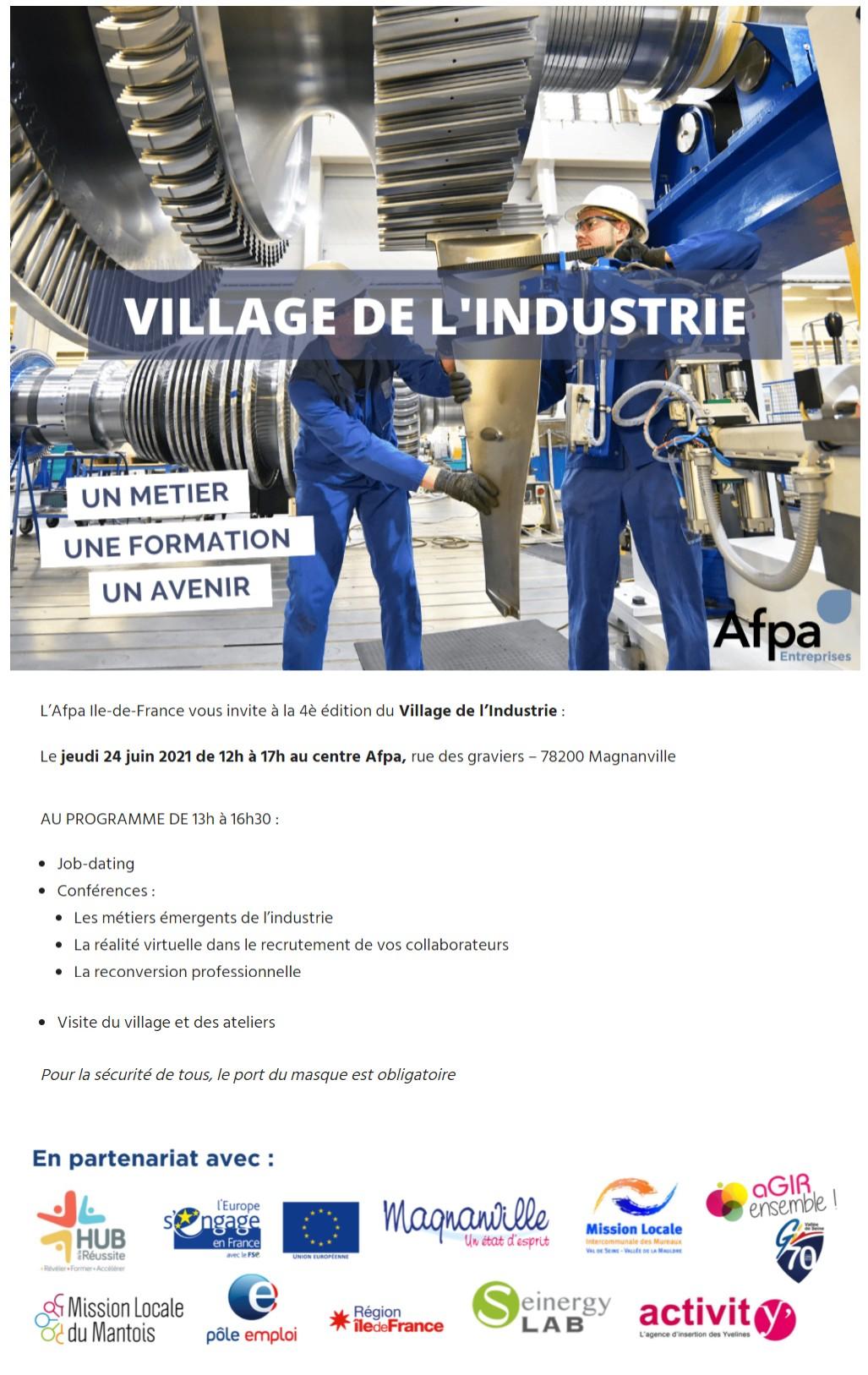 Invitation à la 4è édition du Village de l'Industrie de l'AFPA du 24 juin